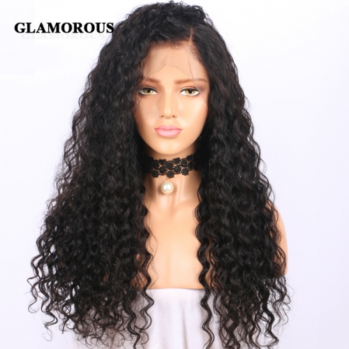 Soft and Bouncy Deep Wave Full Lace Wig, 100% Virgin Human Hair Wigs