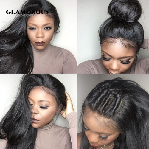 100% Virgin Straight Hair Full Lace Human Hair Wigs With Baby Hair
