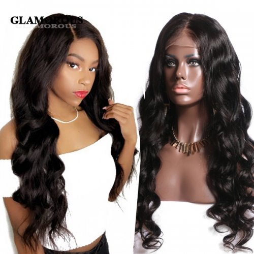 Natural Wavy 100% Virgin Human Hair Full Lace Wigs