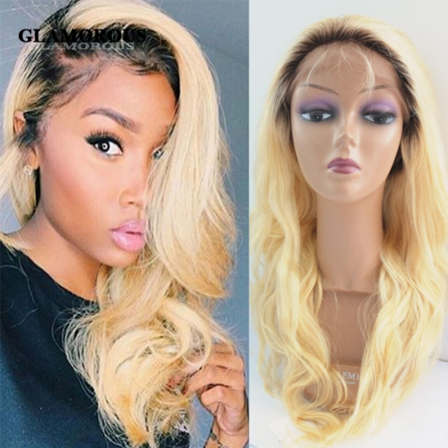 Dark Roots Blonde Ombre Bodywave 100% Virgin Human Hair Full Lace Wigs