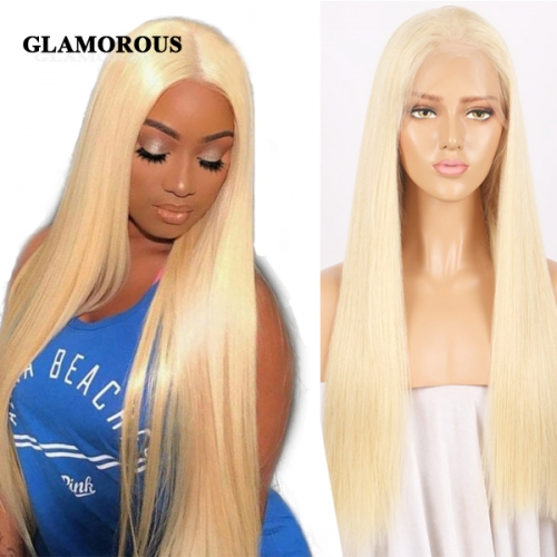 Full 613 Blonde Straight 100% Virgin Human Hair Full Lace Wigs