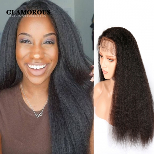 100% Virgin Kinky Straight Hair Full Lace Human Hair Wigs With Baby Hair