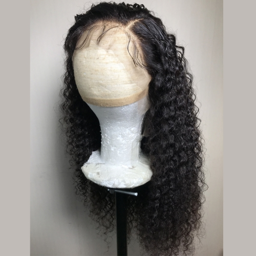 Preplucked hair line with baby hair deep curly front lace wig 180% density thick wig