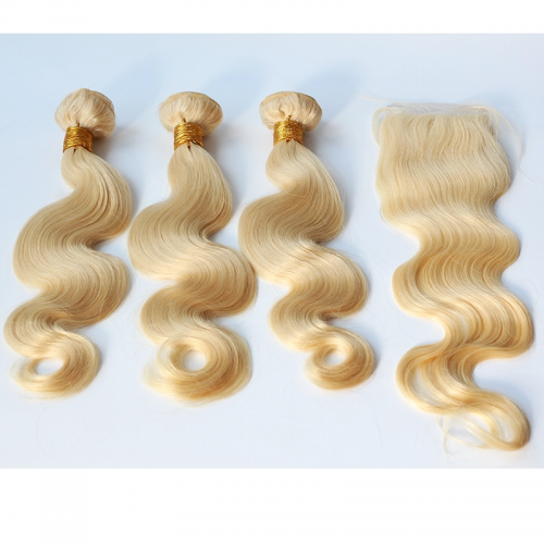 Blonde 613 Body Wave 3 bundles with 4x4 lace closure,100% Virgin Human Hair