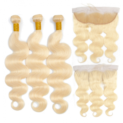 Blonde 613 Body Wave 3 different inch bundles with 13x4 lace closure,100% Virgin Human Hair