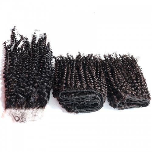 100% Unprocessed Virgin Human Hair Brazilian Kinky curly 3 Bundles with a Lace Closure