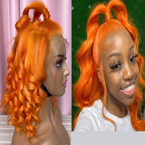 150% Orange Wand Curl Frontal Wig Swiss lace