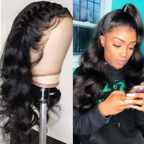 Loose Wave Frontal Wigs Free Lace Front Human Hair Wigs Pre Plucked 13x4 150% Brazilian