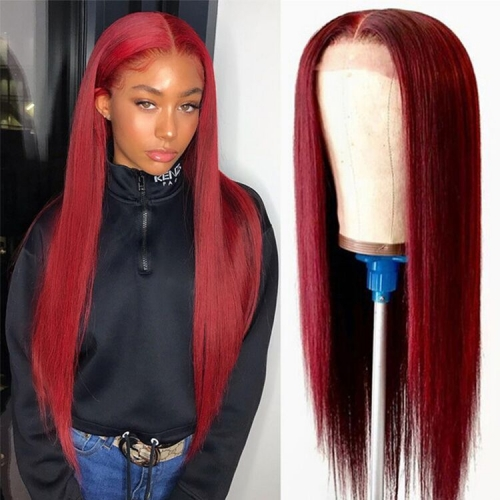 100% Human hair Wig Cherry Red Straight 150 Density
