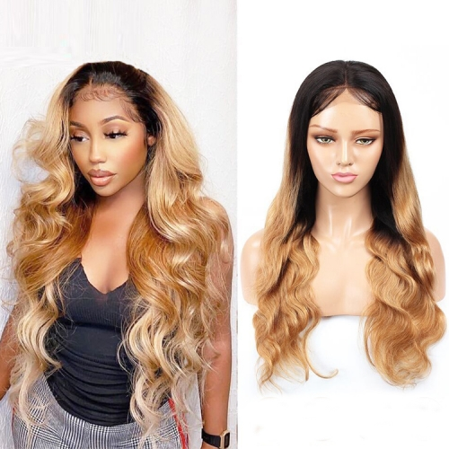 "100% Human Hair 10""-30""Inch 1B/27 Wand curls Frontal Wig"