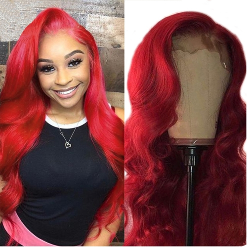 10-30 Inch Cherry Red wand curls  Frontal  Human Hair Wig