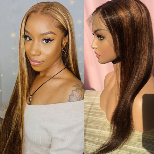 10-30 Inch #4/27  Straight  Lace Front  Human Hair Wig