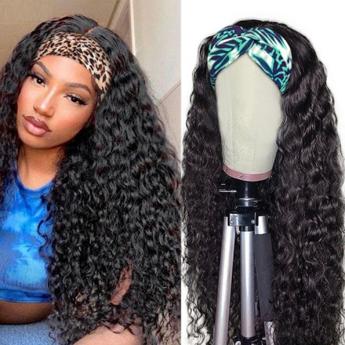 10-30 Inch No Tangle No Shedding Deep Wave Headband Wig