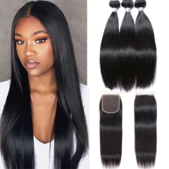 100% Virgin Human Hair Straight Bundles With 4x4 Closure For Black Women