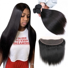 No Tangle No Shedding Straight Bundles With 13x4 Closure