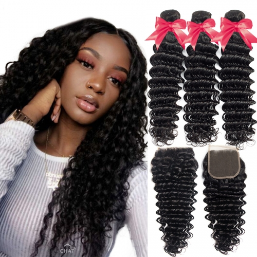 Top Quality Deep  wave Bundles With 5x5 Closure
