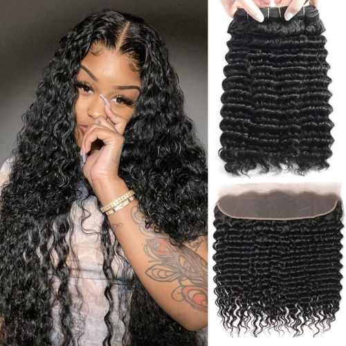Best Selling Deep Wave Bundles With 13x6 Frontal