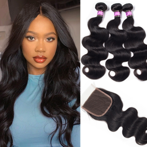 100% Virgin Human Hair Body wave Bundles With 4x4 Closure For Black Women