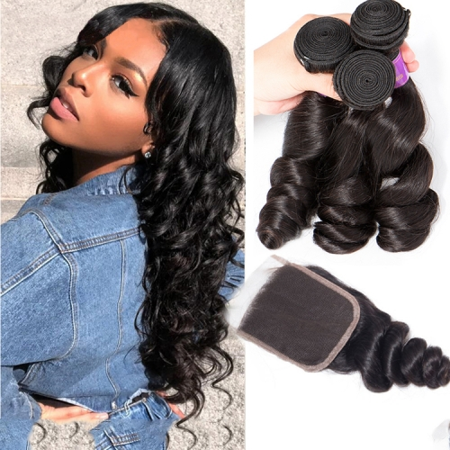 Top Quality Loose  wave Bundles With 5x5 Closure