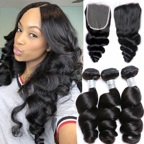 100% Virgin Human Hair Loose wave Bundles With 4x4 Closure For Black Women