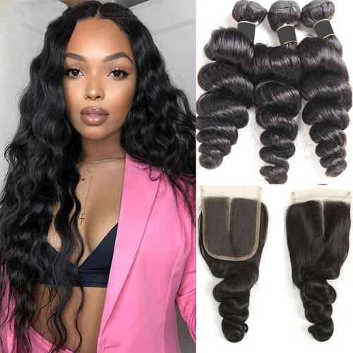 Loose  Wave Bundles With 6x6 Closure In Indian Peruvian Brazilian Etc