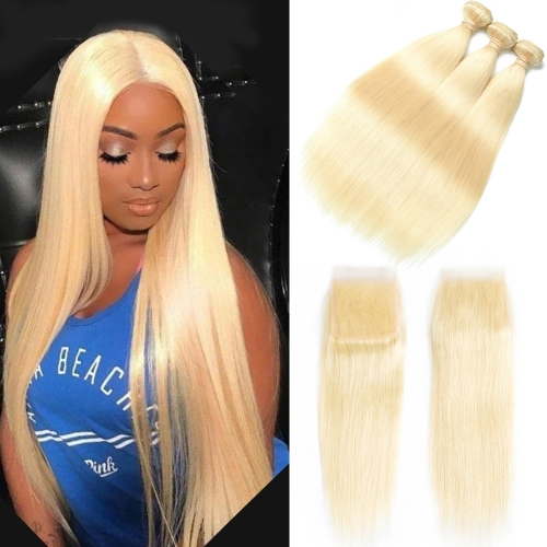 100% Virgin Human Hair 613 Straight Bundles With 4x4 Closure For Black Women