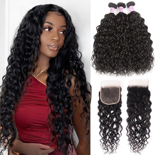 100% Virgin Human Hair Water wave Bundles With 4x4 Closure For Black Women