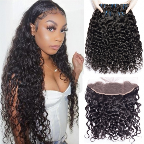 No Tangle No Shedding Water  Wave Bundles With 13x4 Closure