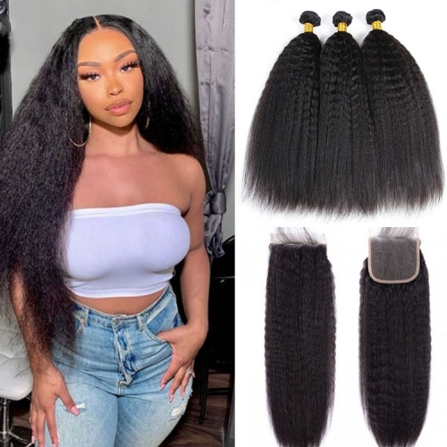 Kinky Straight Bundles With 6x6 Closure In Indian Peruvian Brazilian Etc
