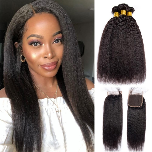 100% Virgin Human Hair Kinky Straight Bundles With 4x4 Closure For Black Women
