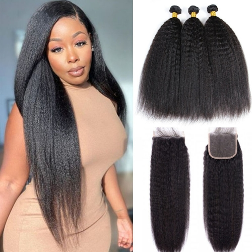 Top Quality  Kinky Straight Bundles With 5x5 Closure