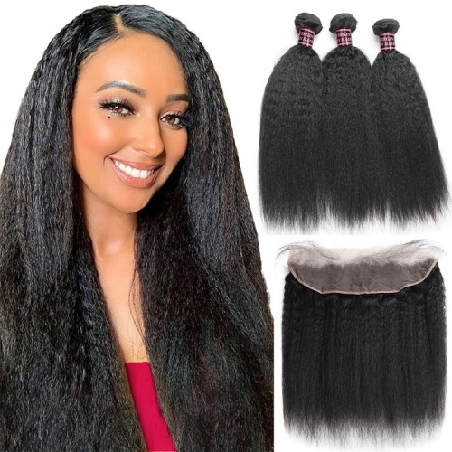Best Selling Kinky Straight Bundles With 13x6 Frontal