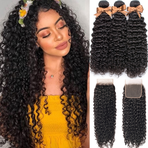 Kinky Curly Bundles With 6x6 Closure In Indian Peruvian Brazilian Etc