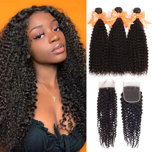 100% Virgin Human Hair Kinky Curly Bundles With 4x4 Closure For Black Women
