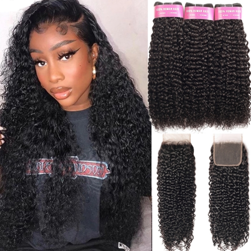 Top Quality Kinky Curly Bundles With 5x5 Closure