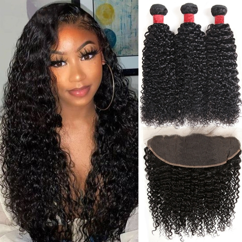 No Tangle No Shedding Jerry Curly  Bundles With 13x4 Closure