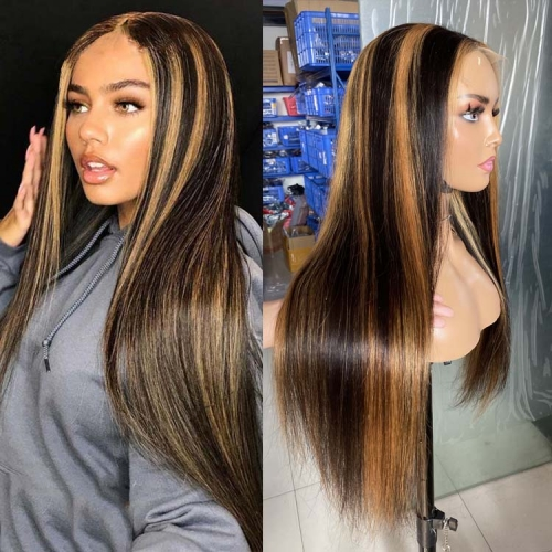 "100% Virgin Human Hair 1b/27 Piano Style 5x5 HD Closure Wig 14"" To 30"" Available"