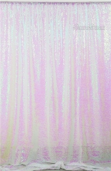 QueenDream 7ftx7ft Iridescent White Sequin Backdrop Baby Shower Curtain