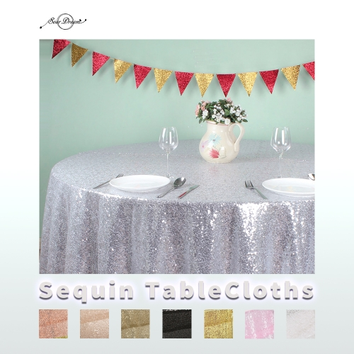 Round108'丨Sequin Tablecloth with 16Colors