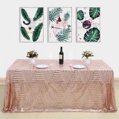 "Sequin Tablecloth 90""X132""Geometeic RoseGold"