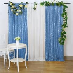 2 Pieces 2ftx8ft Light Blue Sequin Backdrop