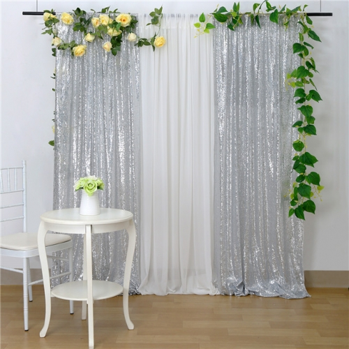 2 Pieces 2ftx8ft Silver Sequin Backdrop