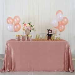 "Sequin Tablecloth 90""X132""Blush"
