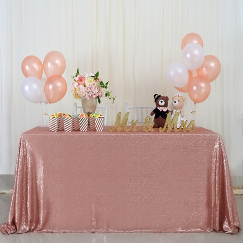 "Sequin Tablecloth 90""X132""Blush"