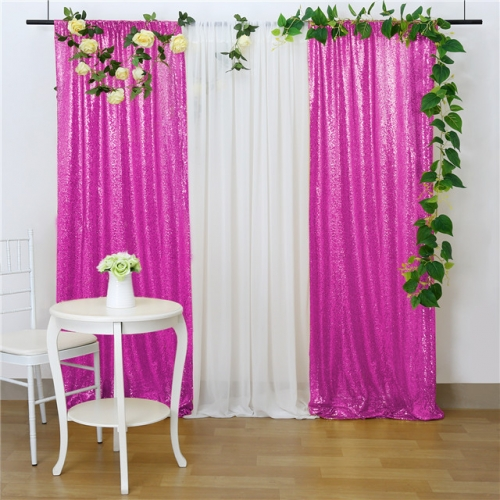 2 Pieces 2ftx8ft Fuchsia Sequin Backdrop