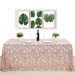 "Sequin Tablecloth 90""X132""RoseGold Flower"