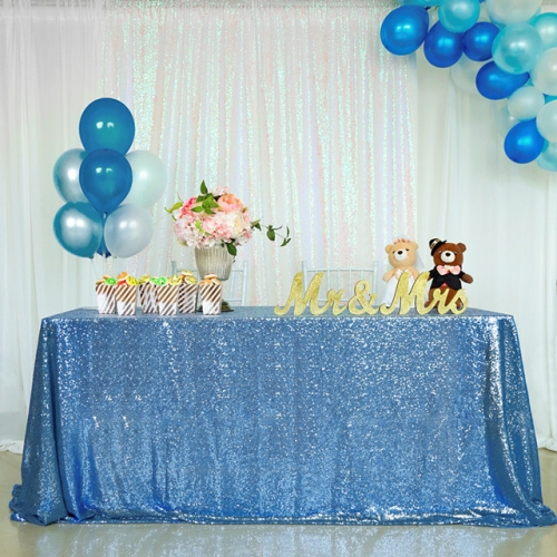"Sequin Tablecloth 90""X132""Light Blue"