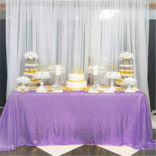 "Sequin Tablecloth 90""X132""Light Purple"