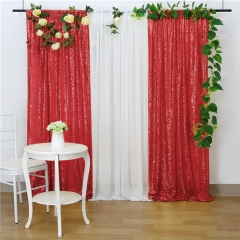2 Pieces 2ftx8ft Red Sequin Backdrop