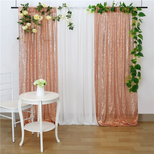 2 Pieces 2ftx8ft Rose Gold Sequin Backdrop